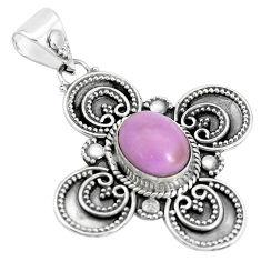 4.38cts natural purple phosphosiderite (hope stone) 925 silver pendant p33489