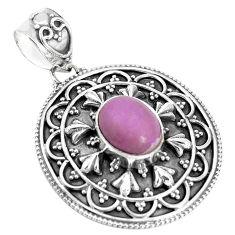 4.69cts natural purple phosphosiderite (hope stone) 925 silver pendant p33490