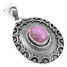 4.38cts natural purple phosphosiderite (hope stone) 925 silver pendant p33496