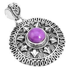 3.31cts natural purple phosphosiderite (hope stone) 925 silver pendant p33500