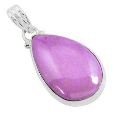 17.22cts natural purple phosphosiderite (hope stone) 925 silver pendant p46319