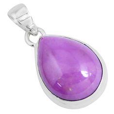 14.23cts natural purple phosphosiderite (hope stone) 925 silver pendant p49302