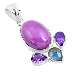 19.42cts natural purple phosphosiderite (hope stone) 925 silver pendant p49890