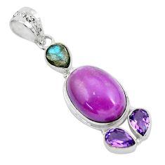 19.45cts natural purple phosphosiderite (hope stone) 925 silver pendant p49892