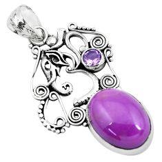 14.04cts natural purple phosphosiderite 925 silver elephant pendant p49915