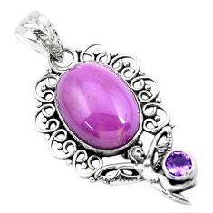 14.61cts natural purple phosphosiderite silver angel wings fairy pendant p49908