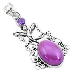 14.61cts natural purple phosphosiderite silver angel wings fairy pendant p49917