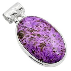 15.65cts natural purple purpurite 925 sterling silver pendant jewelry p85381