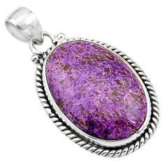16.20cts natural purple purpurite 925 sterling silver pendant jewelry p85382