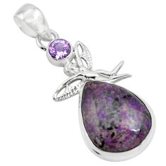 14.72cts natural purple sugilite 925 silver angel wings fairy pendant p69542
