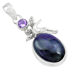 13.71cts natural purple sugilite 925 silver angel wings fairy pendant p69555