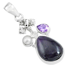 14.88cts natural purple sugilite amethyst 925 silver holy cross pendant p69545