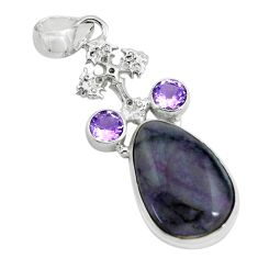 14.26cts natural purple sugilite amethyst 925 silver holy cross pendant p69565