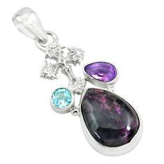 12.36cts natural purple sugilite amethyst 925 silver holy cross pendant p69576