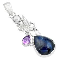 14.12cts natural purple sugilite amethyst 925 silver unicorn pendant p69575