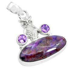 18.94cts natural purple sugilite amethyst 925 sterling silver owl pendant p69560