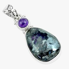 24.38cts natural purple sugilite amethyst 925 sterling silver pendant p66028