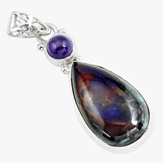 22.59cts natural purple sugilite amethyst 925 sterling silver pendant p66038