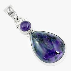 19.23cts natural purple sugilite amethyst 925 sterling silver pendant p66058