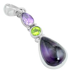 11.57cts natural purple sugilite amethyst 925 sterling silver pendant p69598
