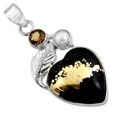 16.73cts natural pyrite in magnetite (healer's gold) 925 silver pendant d32525