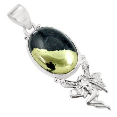 15.93cts natural pyrite in magnetite 925 silver angel wings fairy pendant d31737