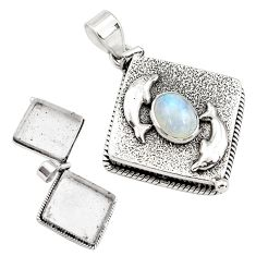 4.51cts natural rainbow moonstone 925 silver poison box dolphin pendant p79959