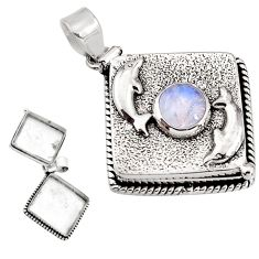 4.64cts natural rainbow moonstone 925 silver poison box dolphin pendant p92846