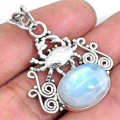 9.63cts natural rainbow moonstone 925 sterling silver crab pendant p59776