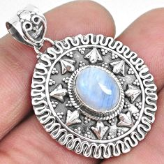 4.50cts natural rainbow moonstone 925 sterling silver pendant jewelry p33547