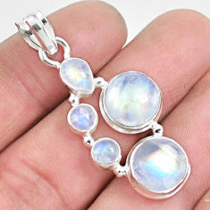 12.31cts natural rainbow moonstone 925 sterling silver pendant jewelry p33716