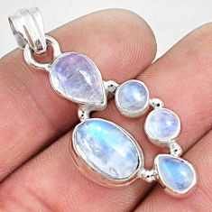 10.01cts natural rainbow moonstone 925 sterling silver pendant jewelry p33736