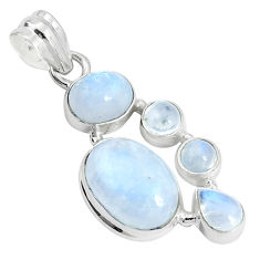 11.89cts natural rainbow moonstone 925 sterling silver pendant jewelry p33980