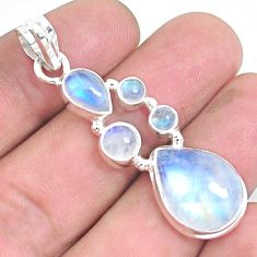 14.50cts natural rainbow moonstone 925 sterling silver pendant jewelry p39847