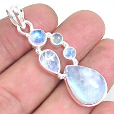 14.94cts natural rainbow moonstone 925 sterling silver pendant jewelry p39849