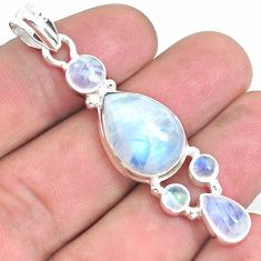14.37cts natural rainbow moonstone 925 sterling silver pendant jewelry p39857
