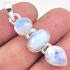 10.78cts natural rainbow moonstone 925 sterling silver pendant jewelry p85845