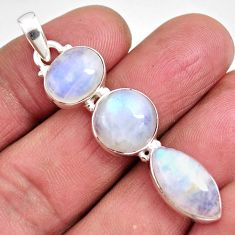 15.53cts natural rainbow moonstone 925 sterling silver pendant jewelry p92205