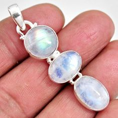 13.82cts natural rainbow moonstone 925 sterling silver pendant jewelry p92210