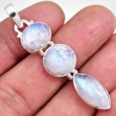 14.47cts natural rainbow moonstone 925 sterling silver pendant jewelry p92212