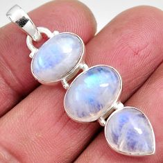 13.27cts natural rainbow moonstone 925 sterling silver pendant jewelry p92215