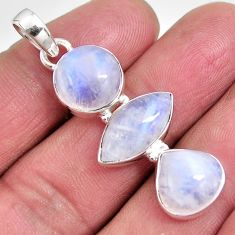 15.16cts natural rainbow moonstone 925 sterling silver pendant jewelry p92216