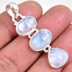 13.87cts natural rainbow moonstone 925 sterling silver pendant jewelry p92232