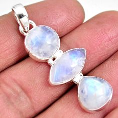14.40cts natural rainbow moonstone 925 sterling silver pendant jewelry p92236
