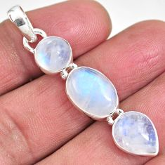 12.07cts natural rainbow moonstone 925 sterling silver pendant jewelry p92244