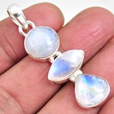 13.87cts natural rainbow moonstone 925 sterling silver pendant jewelry p92245