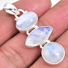 13.87cts natural rainbow moonstone 925 sterling silver pendant jewelry p92248