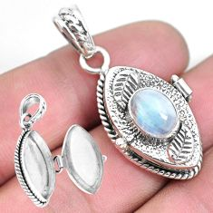 3.08cts natural rainbow moonstone 925 sterling silver poison box pendant p45316