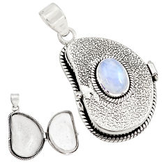 4.44cts natural rainbow moonstone 925 sterling silver poison box pendant p79827