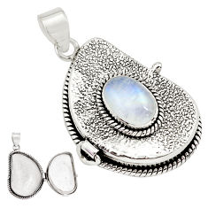 4.29cts natural rainbow moonstone 925 sterling silver poison box pendant p79833